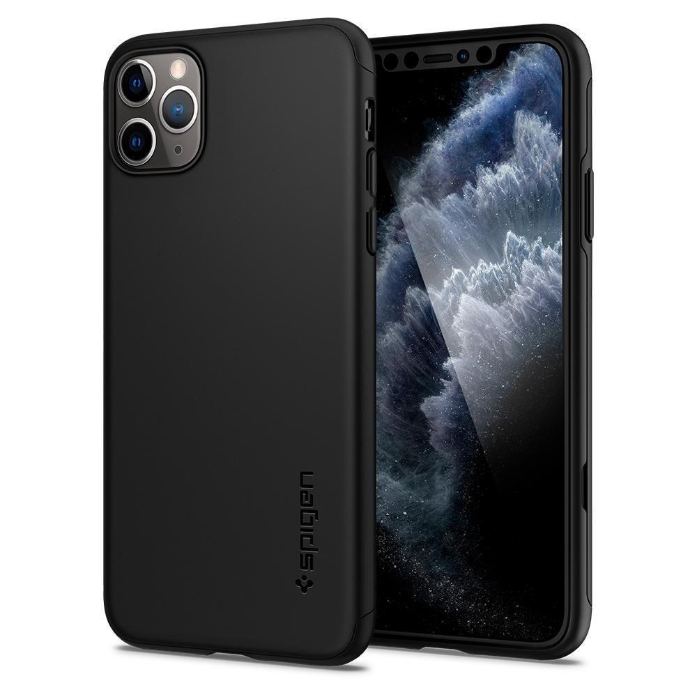 Spigen Thin Fit 360° Θήκη Πλήρους Προστασίας iPhone 11 Pro Max & Tempered Glass - Black (075CS27150)