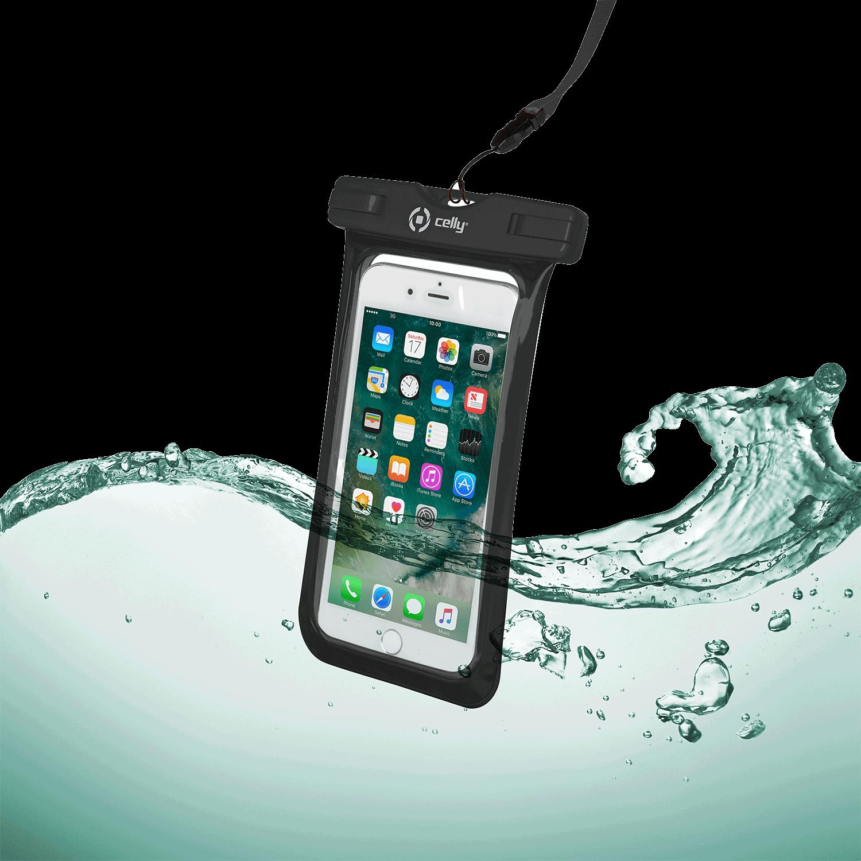 Celly Universal Αδιάβροχη Θήκη Πουγκί για Smartphones έως 6.2'' - IPX8 - Black (SPLASHBAG18BK)