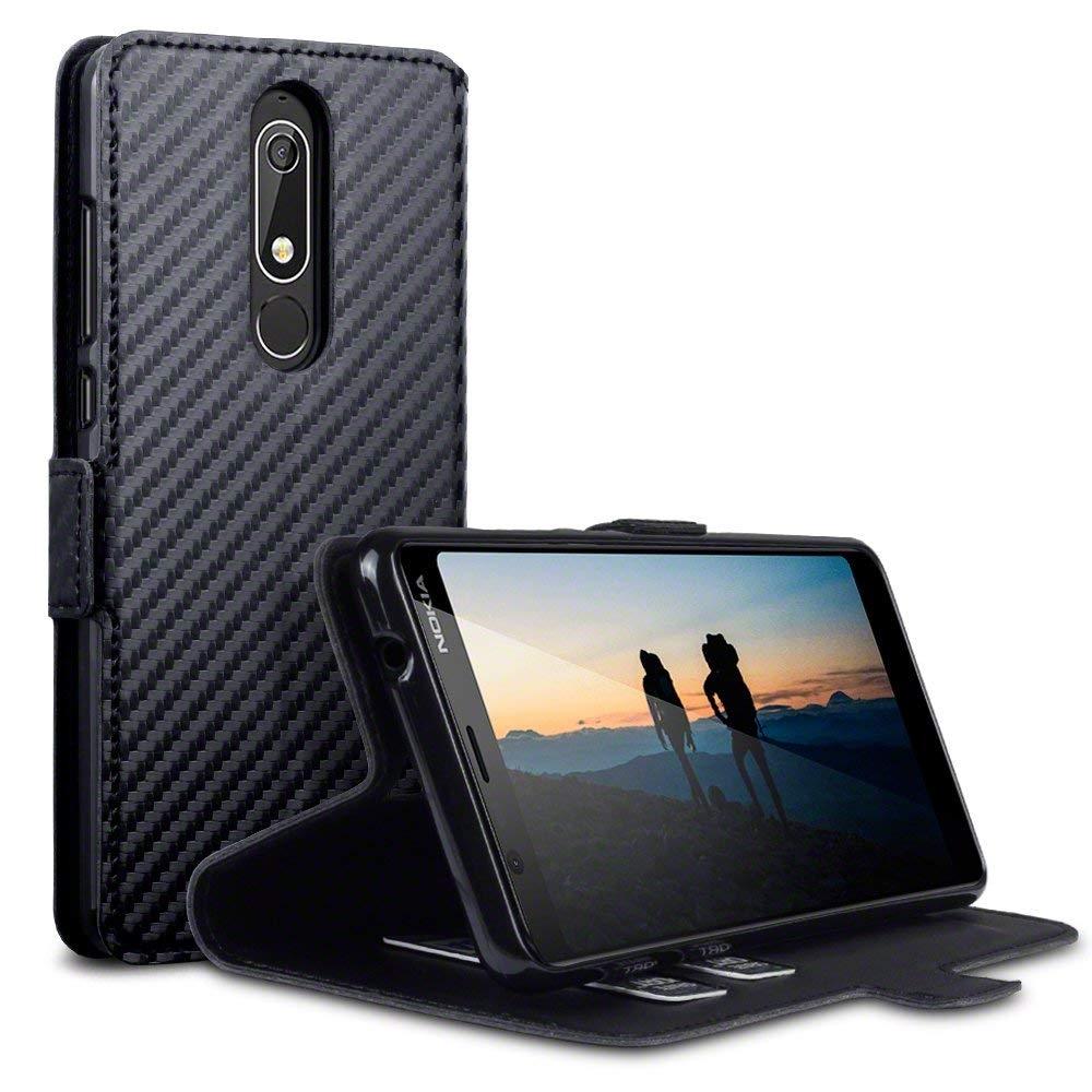 Terrapin Θήκη - Πορτοφόλι Nokia 5.1 - Black Carbon (117-001-298)