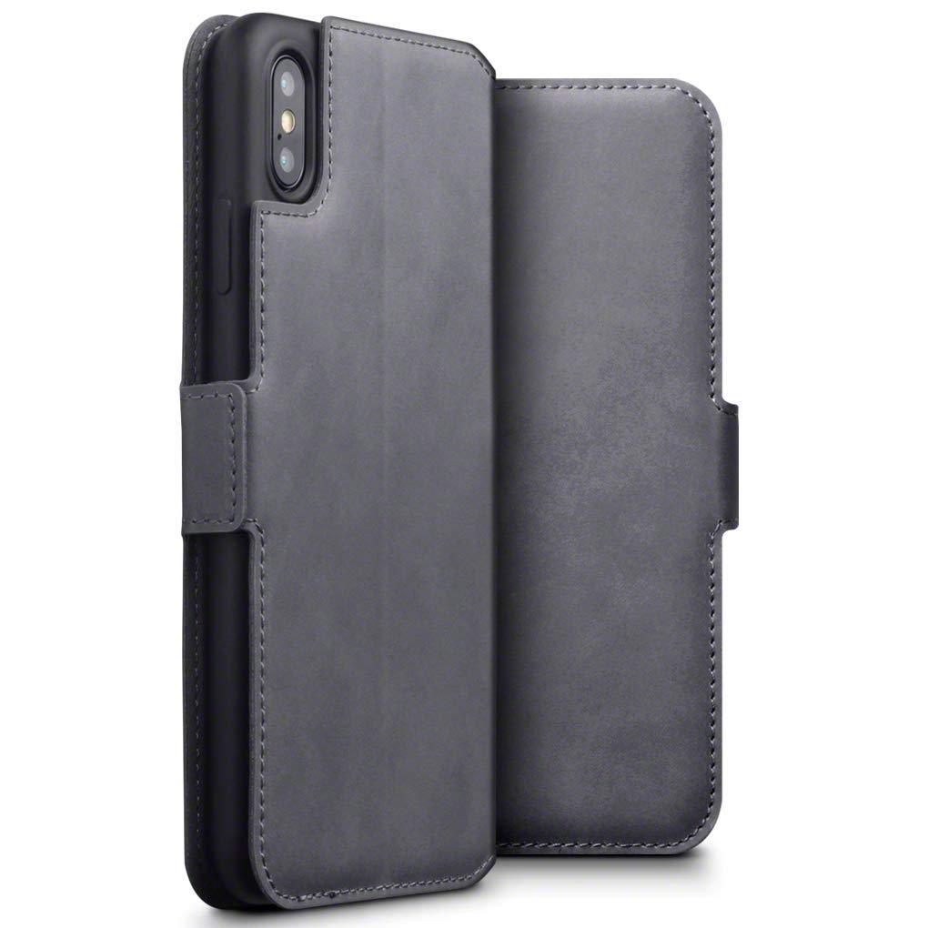 Terrapin Low Profile Δερμάτινη Θήκη - Πορτοφόλι iPhone XS Max - Grey (117-126-004)