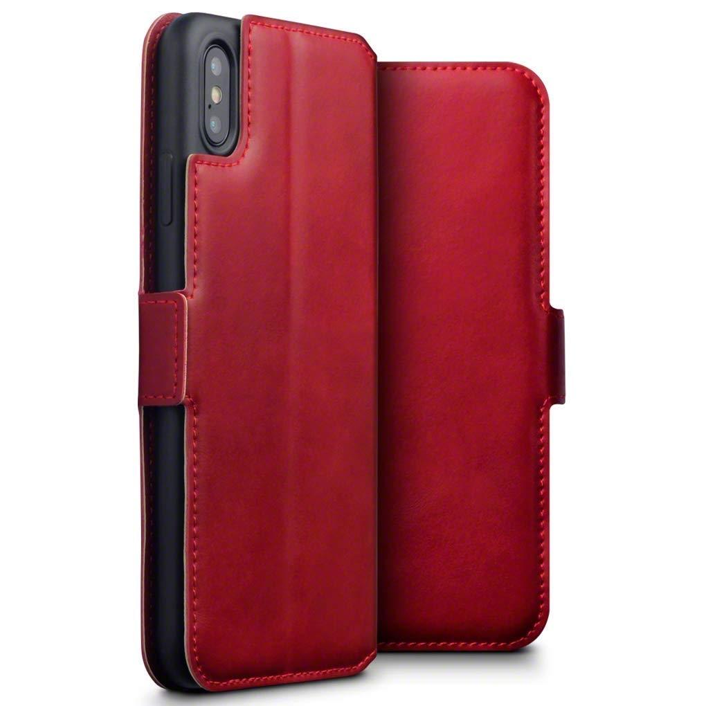Terrapin Low Profile Δερμάτινη Θήκη - Πορτοφόλι iPhone XS Max - Red (117-126-005)