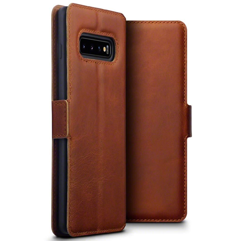 Terrapin Low Profile Δερμάτινη Θήκη - Πορτοφόλι Samsung Galaxy S10 Plus - Cognac (117-002a-112)
