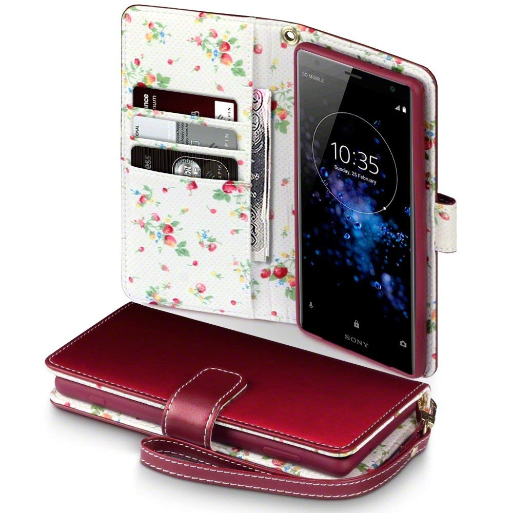 Terrapin Θήκη Πορτοφόλι Sony Xperia XZ2 Premium - Red Floral (117-005-604)