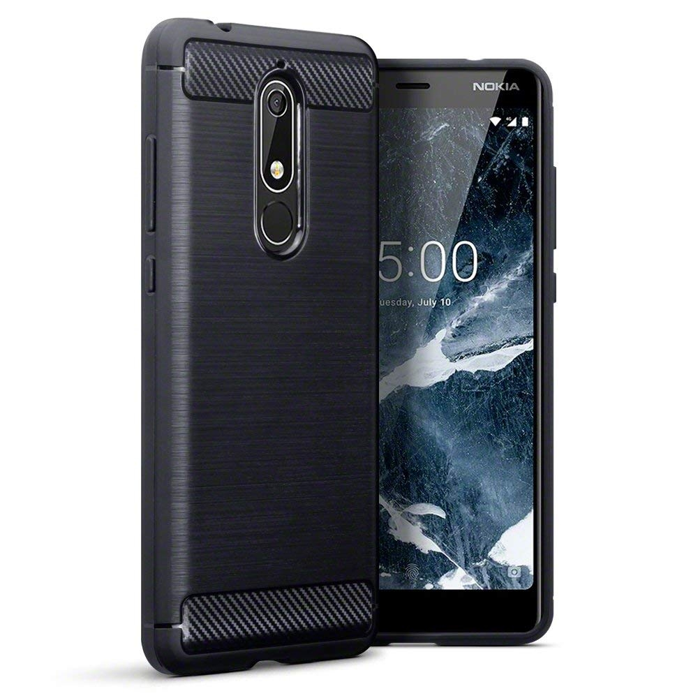 Terrapin Θήκη Σιλικόνης Carbon Fibre Design Nokia 5.1 - Black (118-001-269)