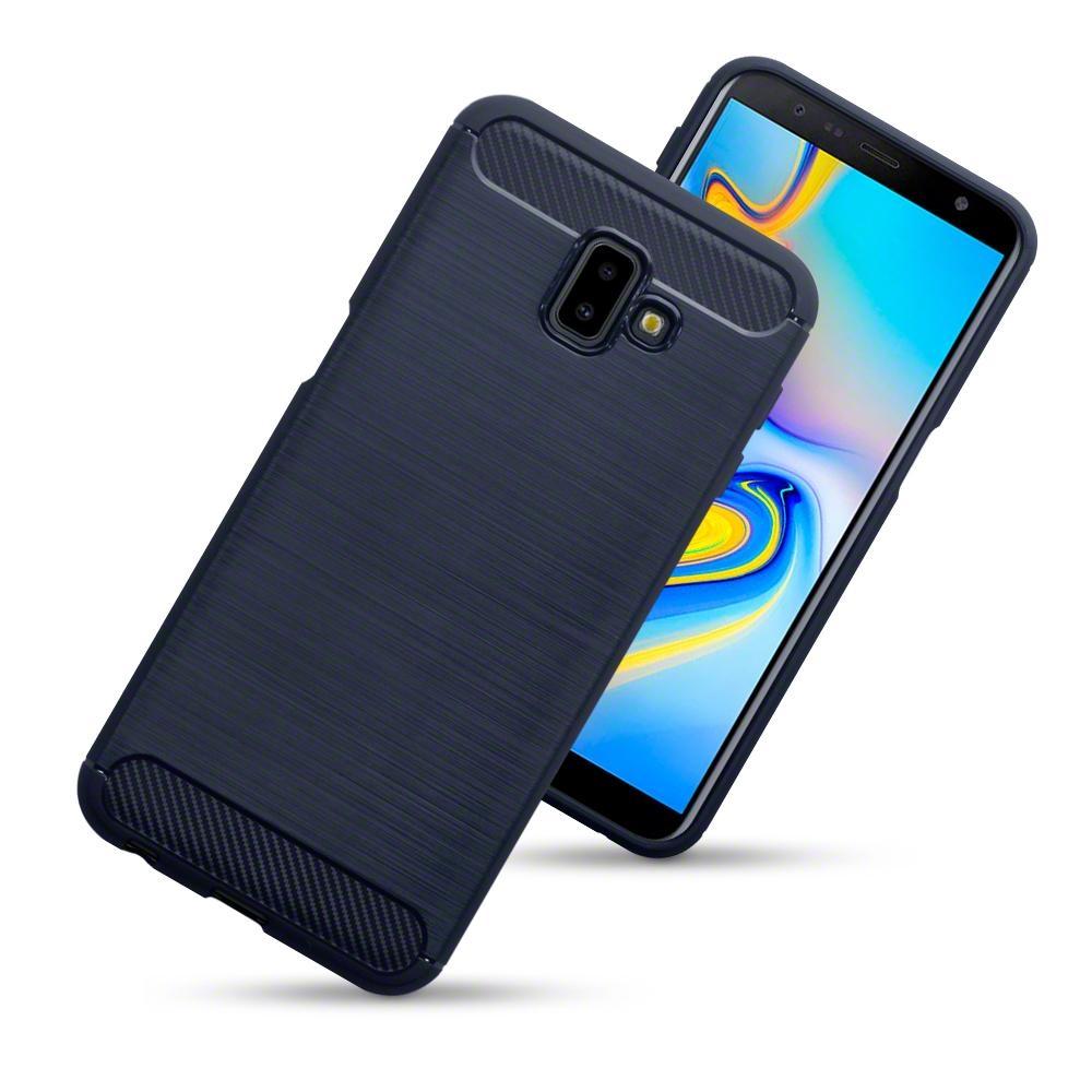 Terrapin Θήκη Σιλικόνης Carbon Fibre Samsung Galaxy J6 Plus 2018 - Blue (118-002-739)
