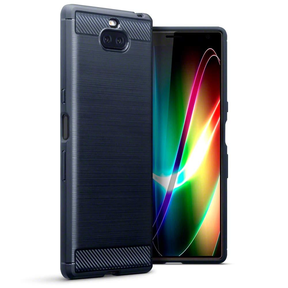 Terrapin Θήκη Σιλικόνης Carbon Fibre Design Sony Xperia 10 Plus - Blue (118-005-497)