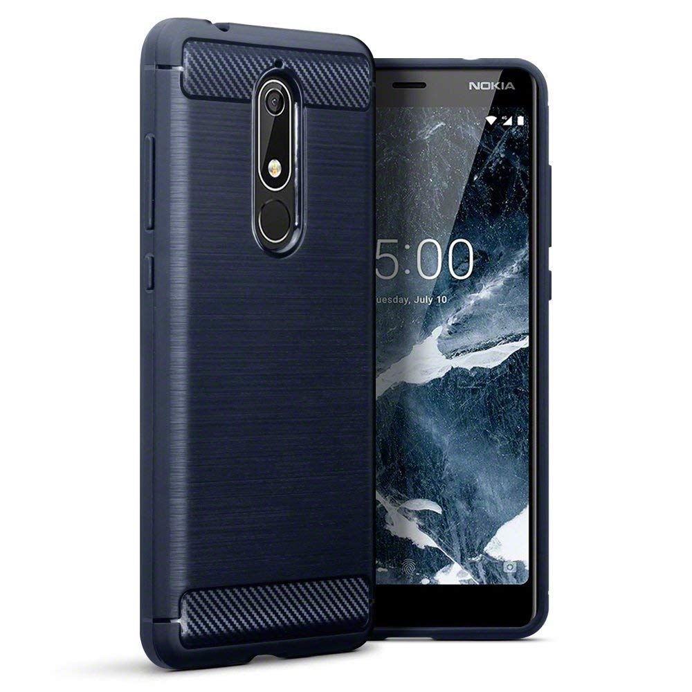 Terrapin Θήκη Σιλικόνης Carbon Fibre Design Nokia 5.1 - Dark Blue (118-001-270)