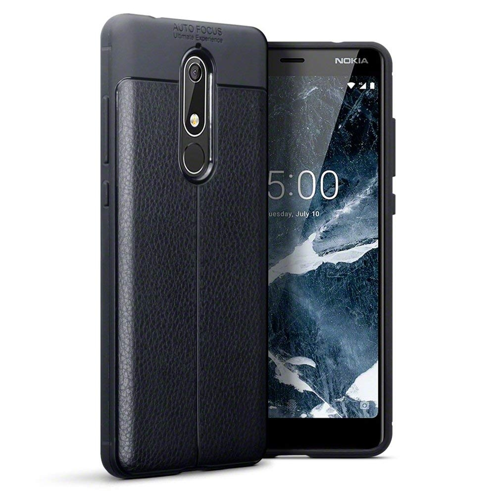 Terrapin Θήκη TPU Leather Design Nokia 5.1 - Black (118-001-271)