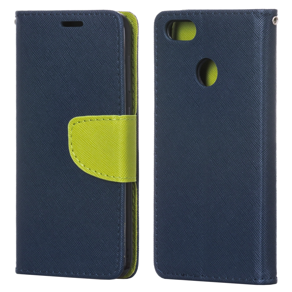 Θήκη - Πορτοφόλι Fancy Diary Huawei P9 Lite Mini - Navy / Lime (13716) - OEM