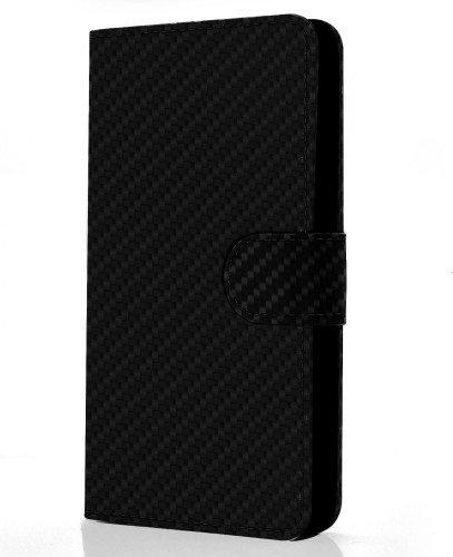 Carbon Θήκη Asus ZenFone 2 - Πορτοφόλι - Μαύρο (9623) - OEM θήκες κινητών