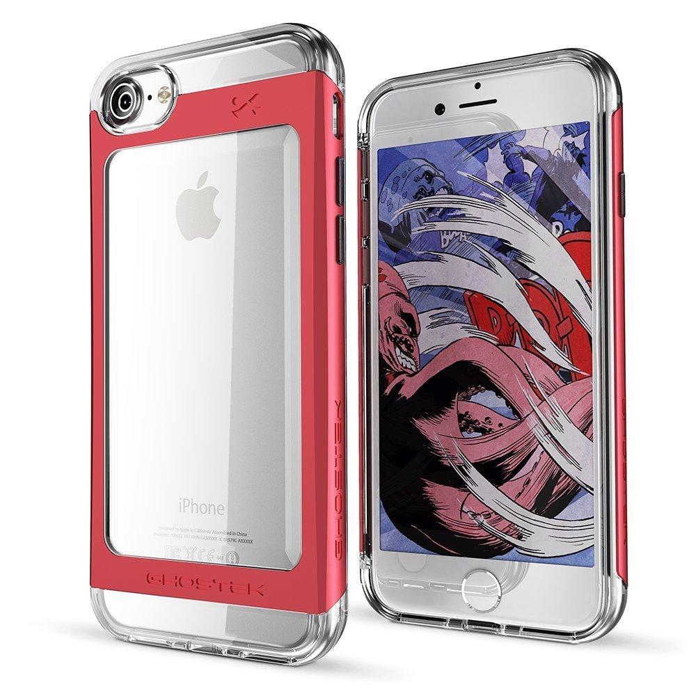Ghostek Θήκη Tough Cloak 2 Series Aluminium iPhone 8 / 7 - Clear / Red + Tempered Glass (GHOCAS468)