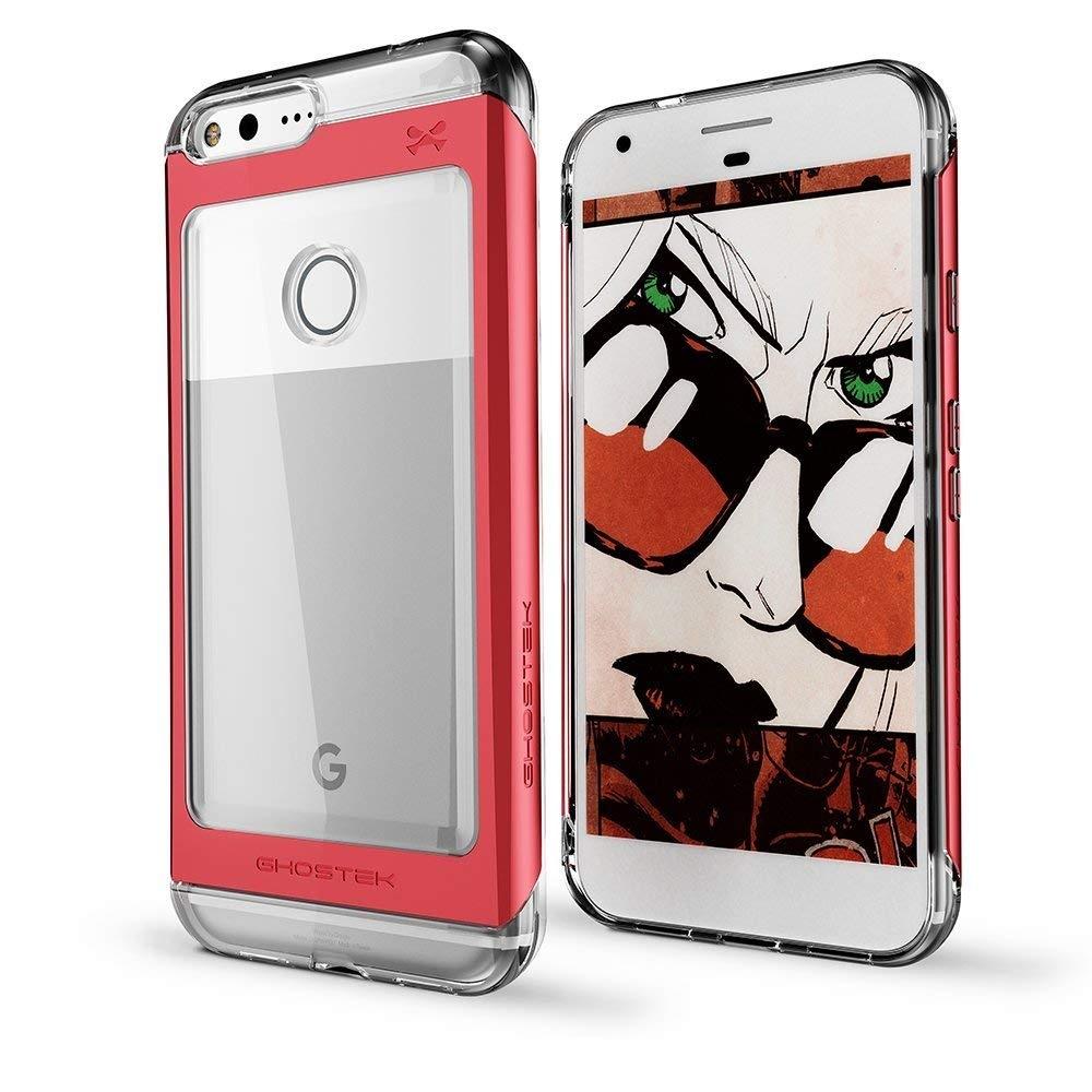 Ghostek Tough Cloak 2 Series Aluminium Θήκη  Google Pixel XL - Clear / Red + Tempered Glass (GHOCAS462)