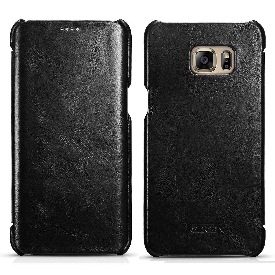 iCarer Vintage Series Side-Open Δερμάτινη Θήκη Samsung Galaxy S6 Edge - Black (10148)