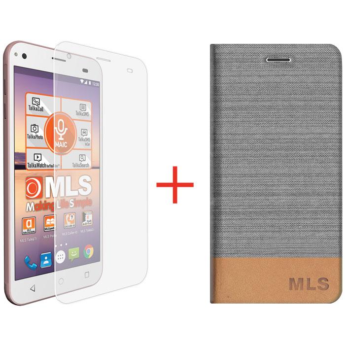 Silver Flip Θήκη MLS ALU 3G + Tempered Glass (32.ML.500.056)