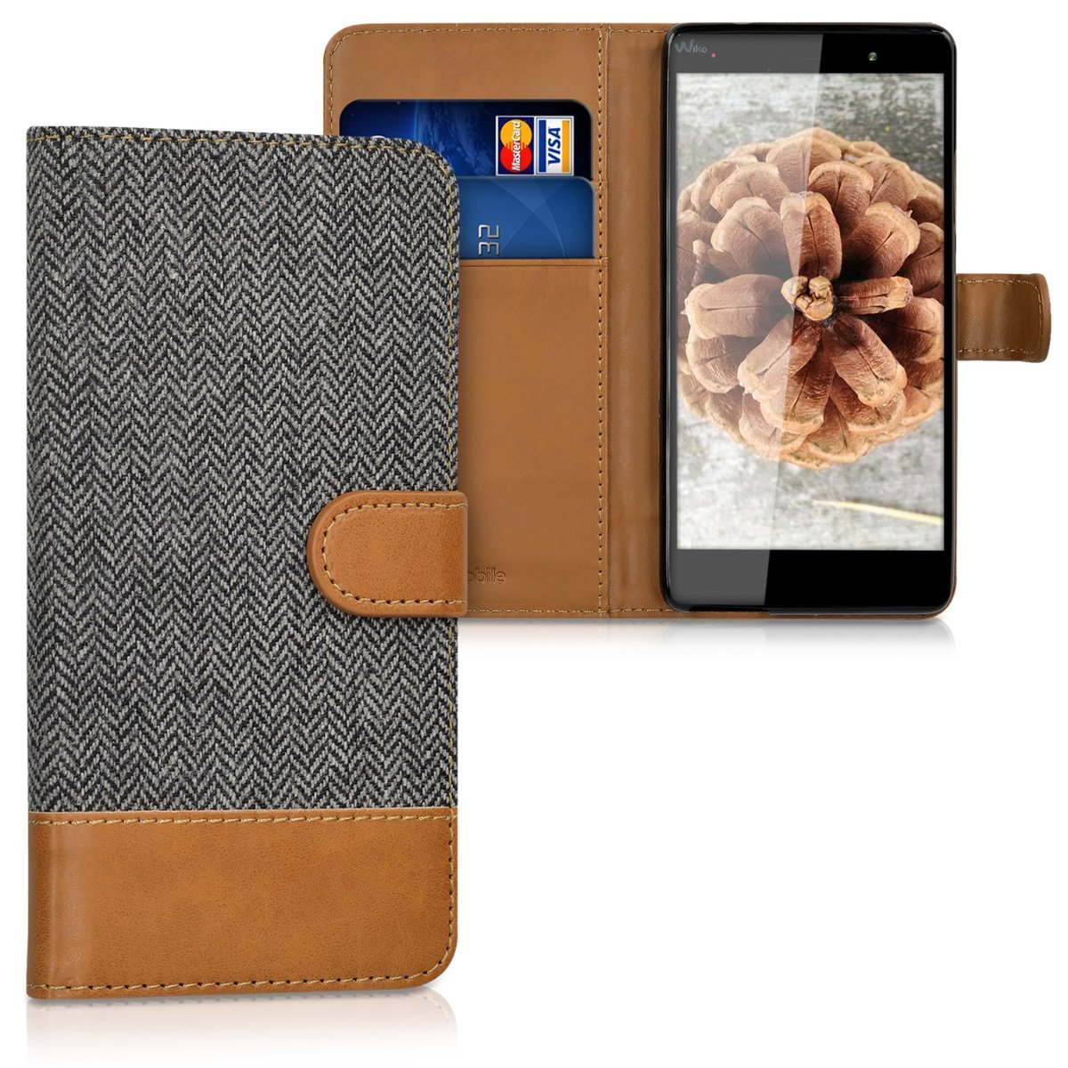 KW Θήκη - Πορτοφόλι Wiko Fever 4G - Anthracite/ Brown (37601.73)