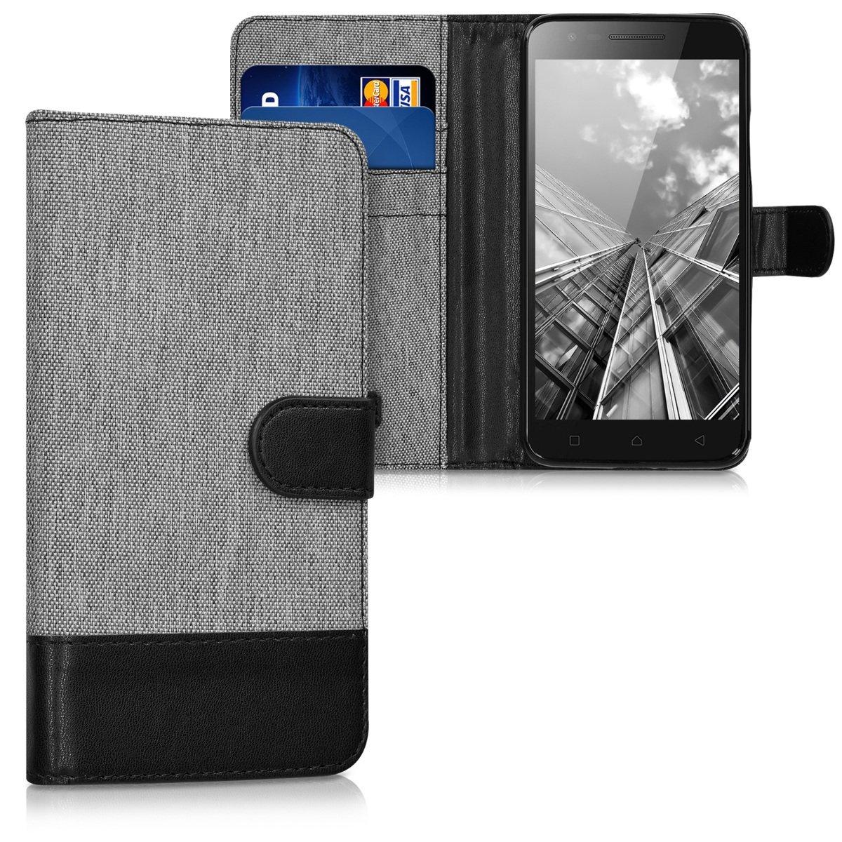 KW Θήκη - Πορτοφόλι Lenovo C2 - Grey/ Black (40503.01)