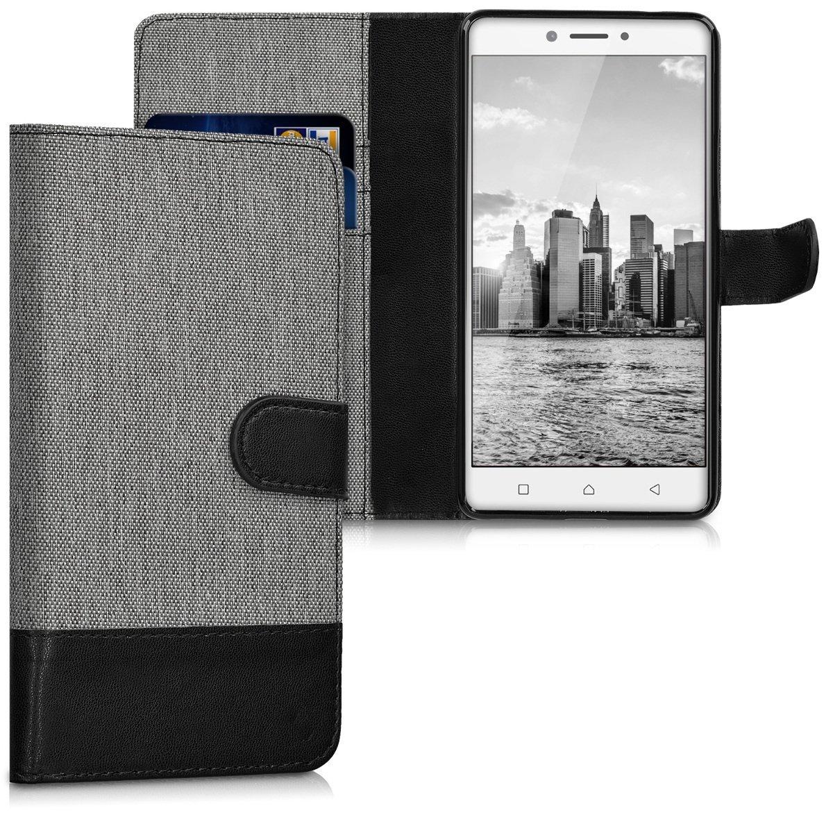 KW Θήκη - Πορτοφόλι Lenovo K6 Note - Grey/ Black (40498.01) θήκες κινητών