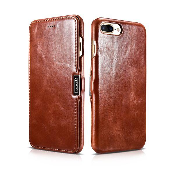 iCarer Vintage Series Side-Open Δερμάτινη Θήκη iPhone 8 Plus / iPhone 7 Plus - Brown