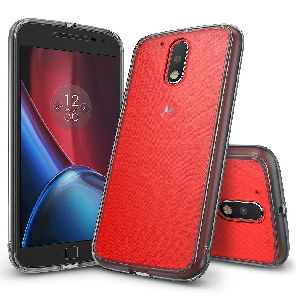 Ringke (Fusion) Διάφανη Θήκη Motorola Moto G4 / G4 Plus PC με TPU Bumper - Smoke Black (60016)