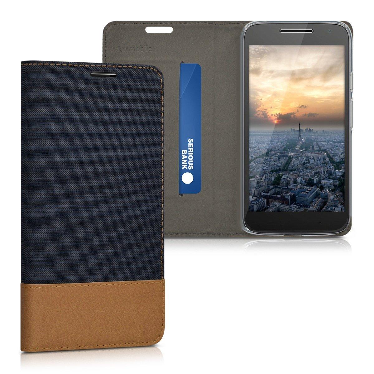 KW Θήκη - Πορτοφόλι Motorola Moto G4 Play - Dark Blue/Brown (39522.17)