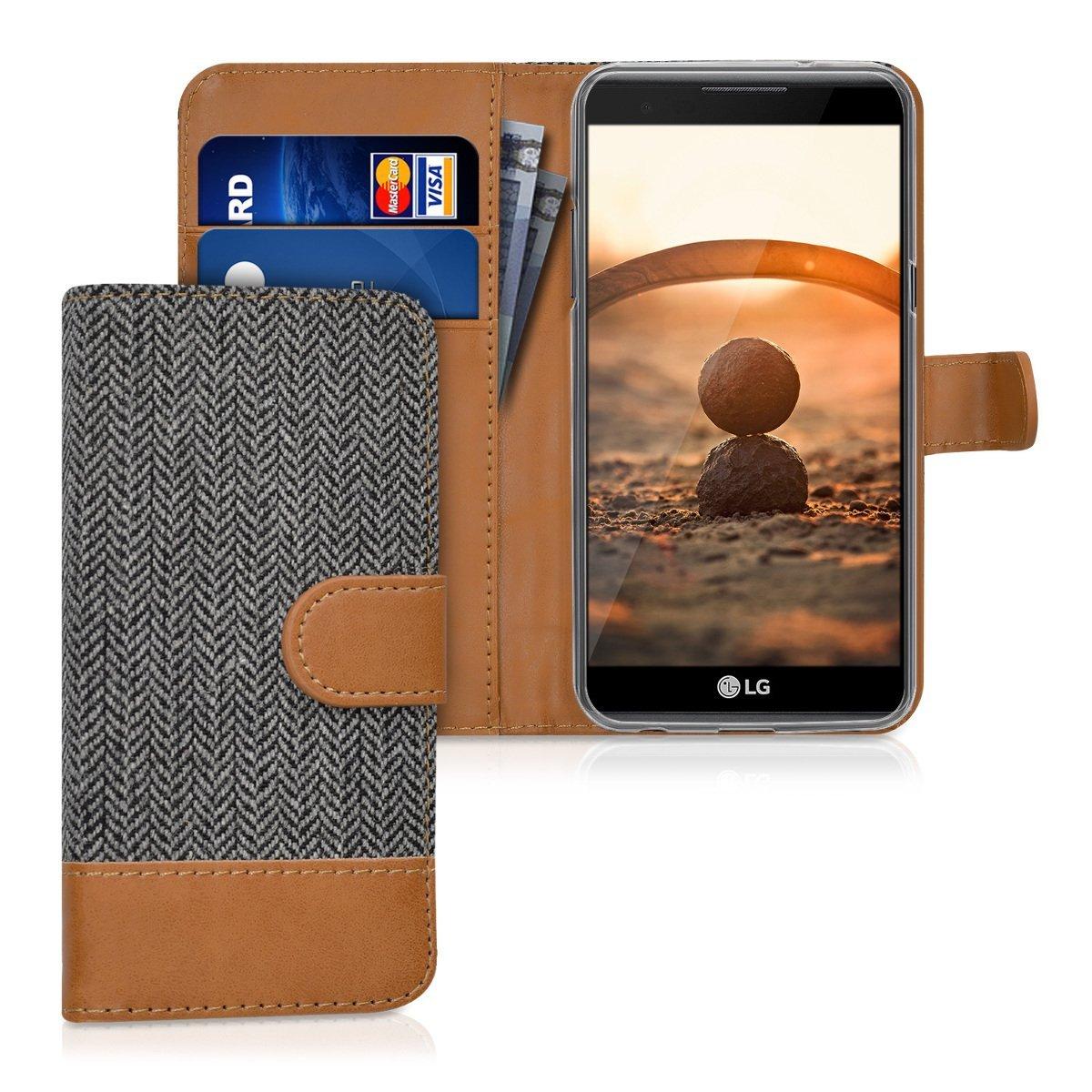 KW Θήκη - Πορτοφόλι LG X Power - Anthracite/ Brown (39815.02)