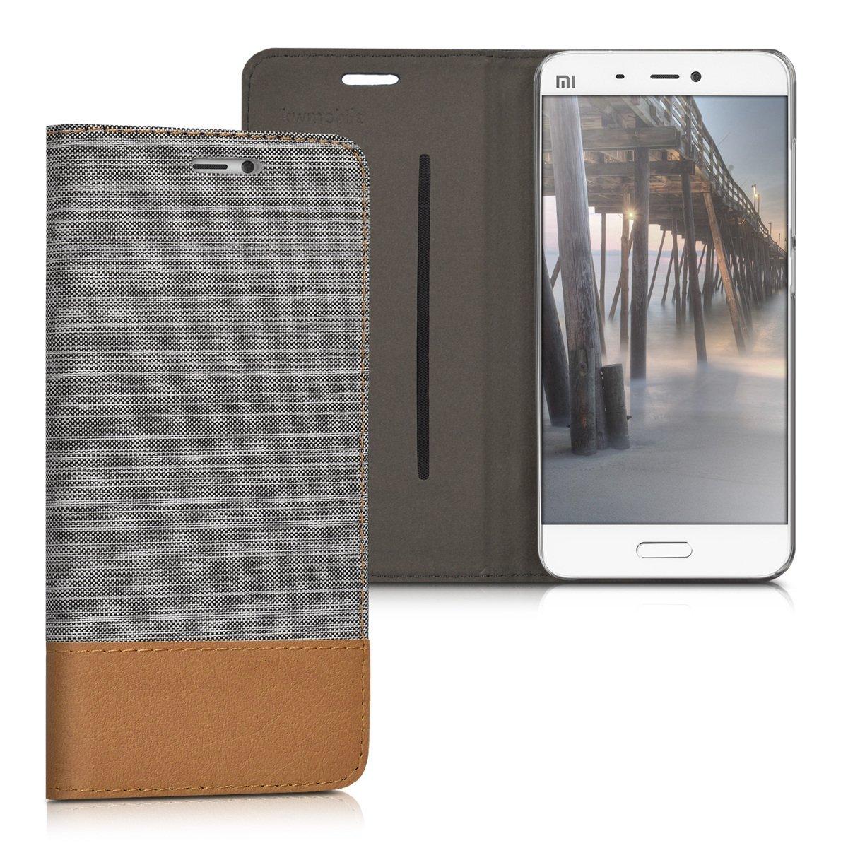 KW Θήκη - Πορτοφόλι Xiaomi Mi 5 - Light Grey/ Brown (38215.25)