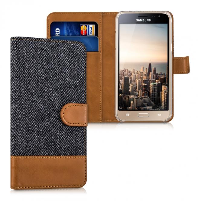 KW Θήκη Samsung Galaxy J3 (2016) - Πορτοφόλι (39023.73) - Anthracite Brown