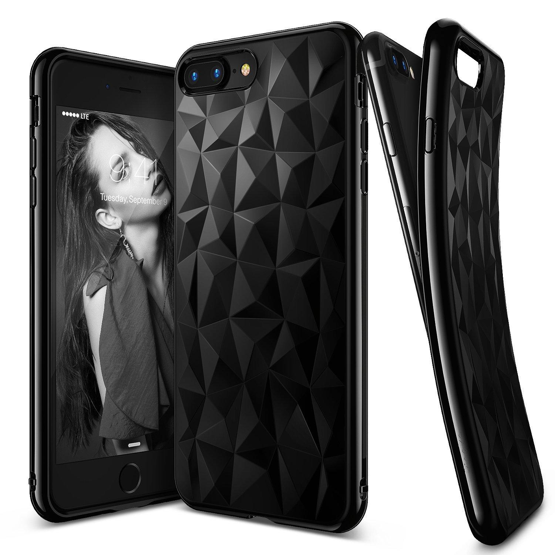 Ringke (Air) Θήκη Σιλικόνης iPhone 8 Plus /  iPhone 7 Plus με Ανάγλυφο Σχέδιο - Μαύρο (RARP-IP7P-IB)