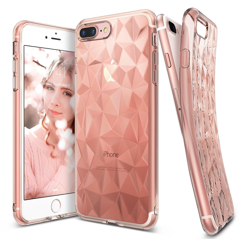 Ringke (Air) Διάφανη Θήκη Σιλικόνης iPhone 8 Plus / iPhone 7 Plus με Ανάγλυφο Σχέδιο - Rose Gold (RARP-IP7P-RG)