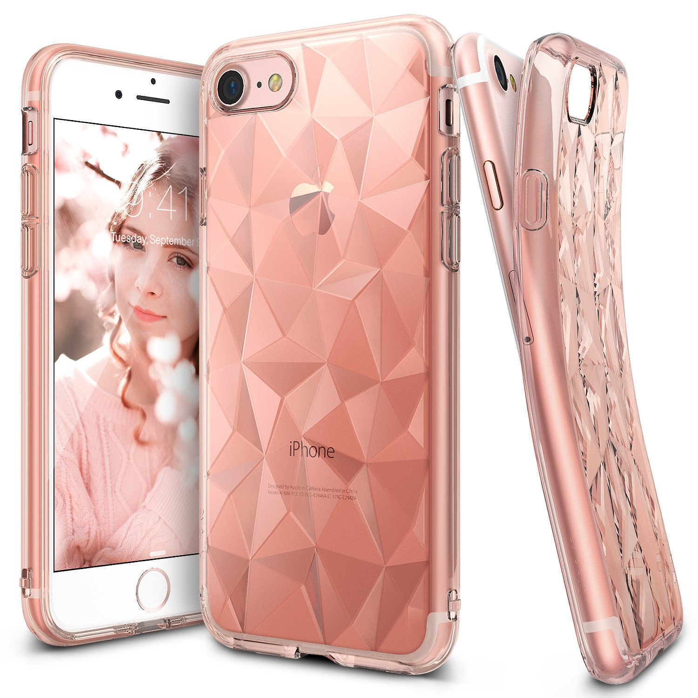 Ringke (Air) Διάφανη Θήκη Σιλικόνης iPhone 8 / 7 με Ανάγλυφο Σχέδιο - Rose Gold (RAPS-IP7-RS)
