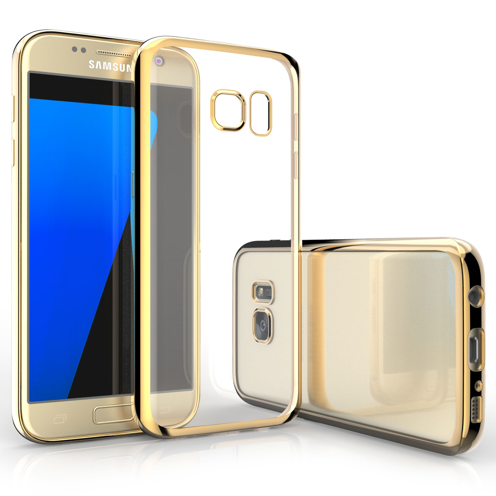 Caseflex Ultra-Thin Διάφανη Θήκη Σιλικόνης με Χρυσό Bumper Samsung Galaxy S7 (Z297)