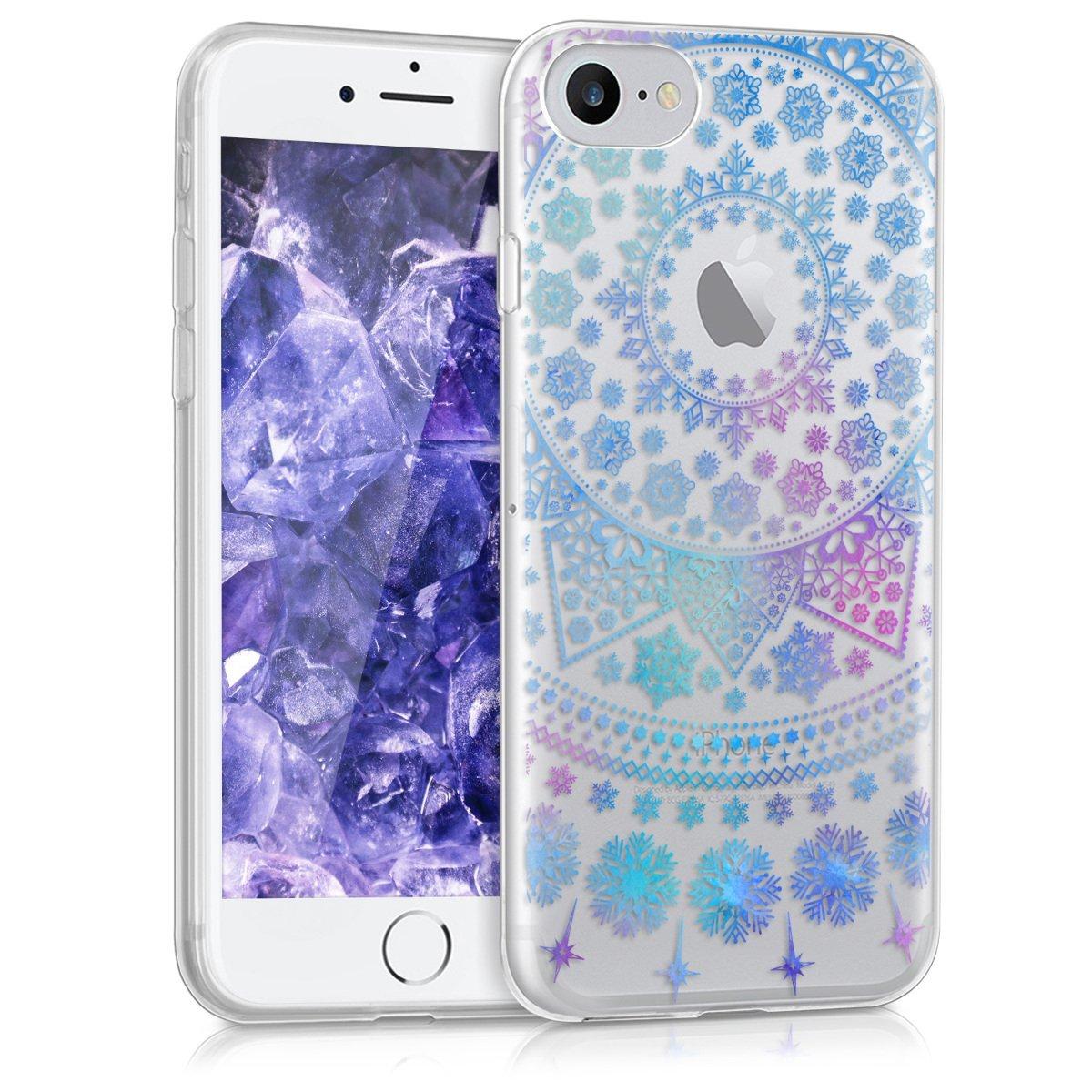 KW Θήκη Σιλικόνης iPhone 7 - Snowflakes Blue/ Dark Pink (39466.23)