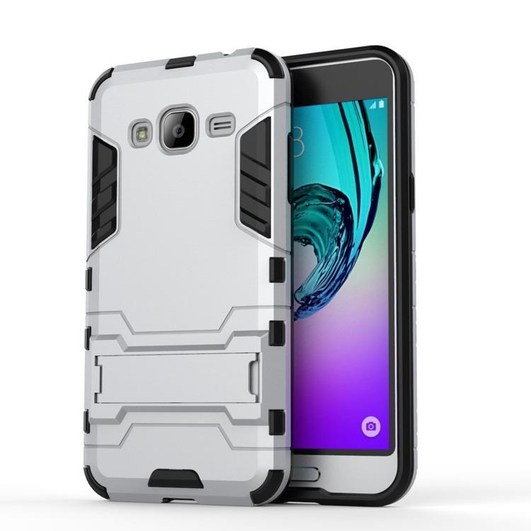 Ανθεκτική Θήκη με Stand Samsung Galaxy J3 (2016) - Silver (9718) - OEM