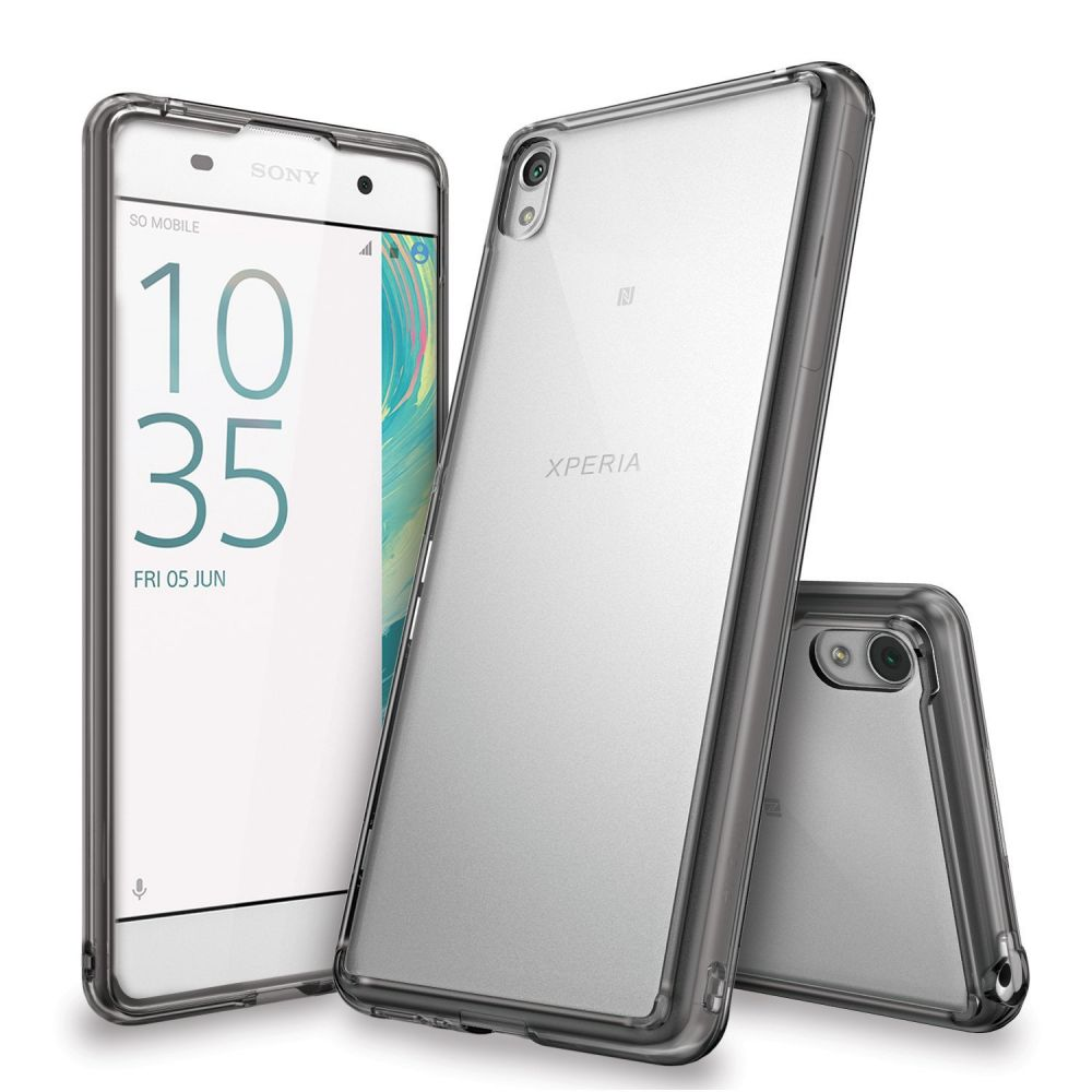 Ringke (Fusion) Θήκη Sony Xperia XA με TPU Bumper  - Clear/Smoke Black