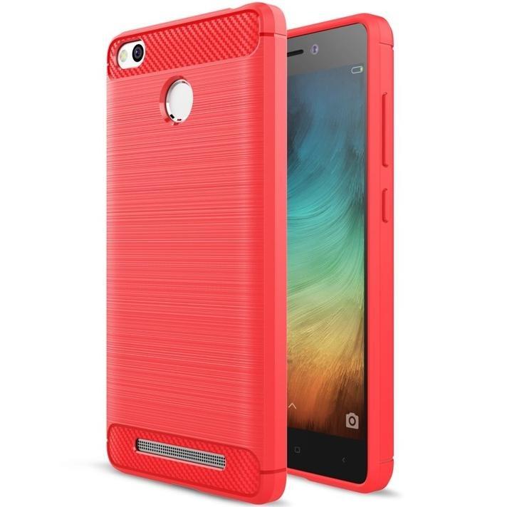 SHTL Θήκη TPU Carbon Xiaomi Redmi 3S/3 Pro - Red (139663)
