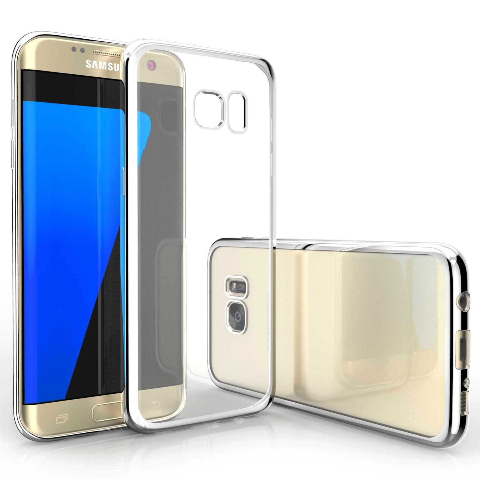 Caseflex Ultra-Thin Διάφανη Θήκη Σιλικόνης με Ασημένιο Bumper Samsung Galaxy S7 Edge (Z298)