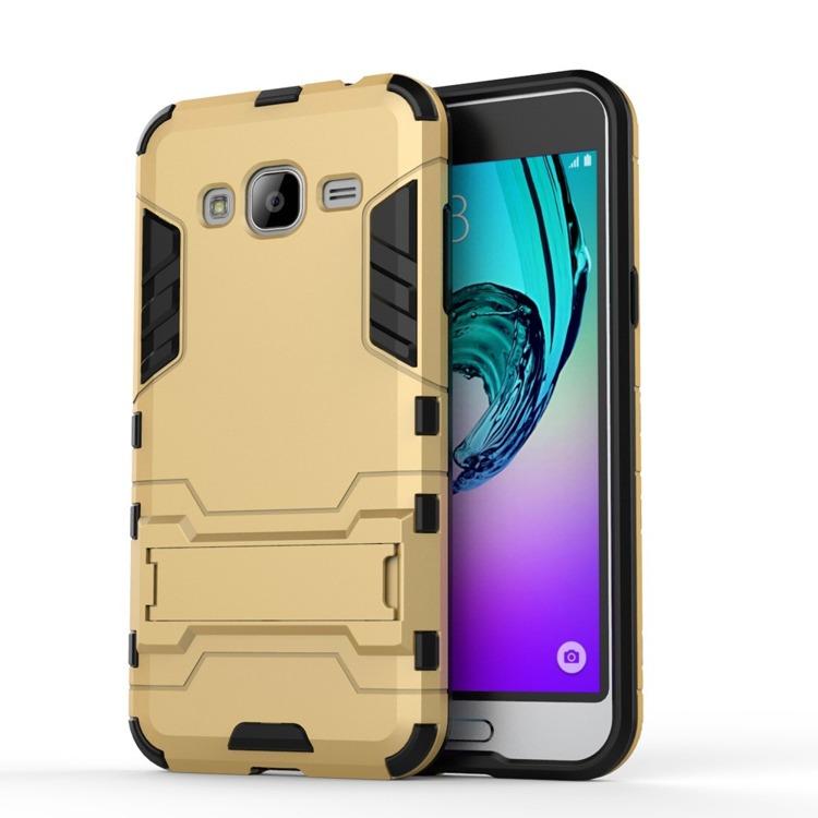 Ανθεκτική Θήκη με Stand Samsung Galaxy J3 (2016) - Gold (9719) - OEM