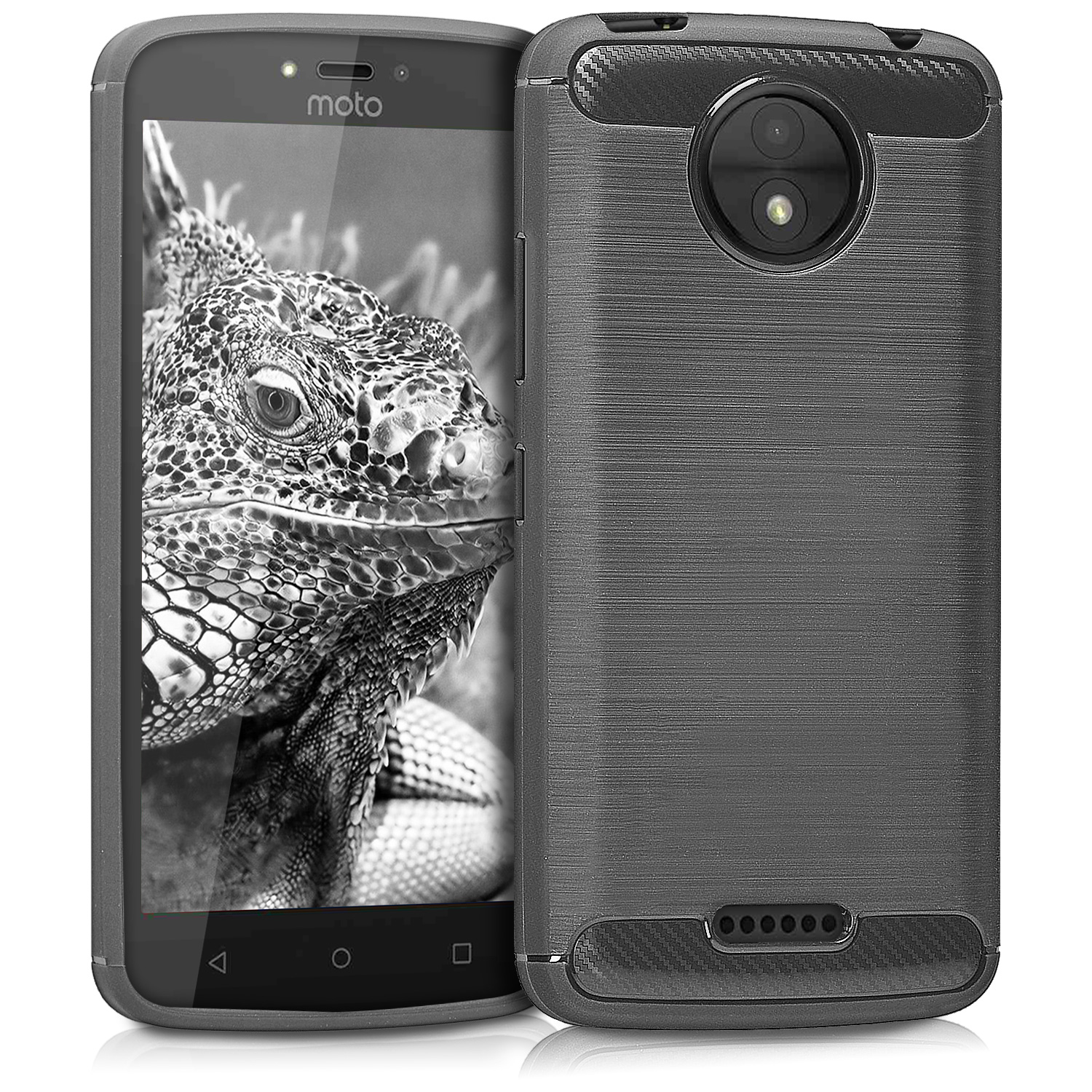 KW Θήκη Σιλικόνης Motorola Moto C - Brushed Carbon Anthracite (42693.01)