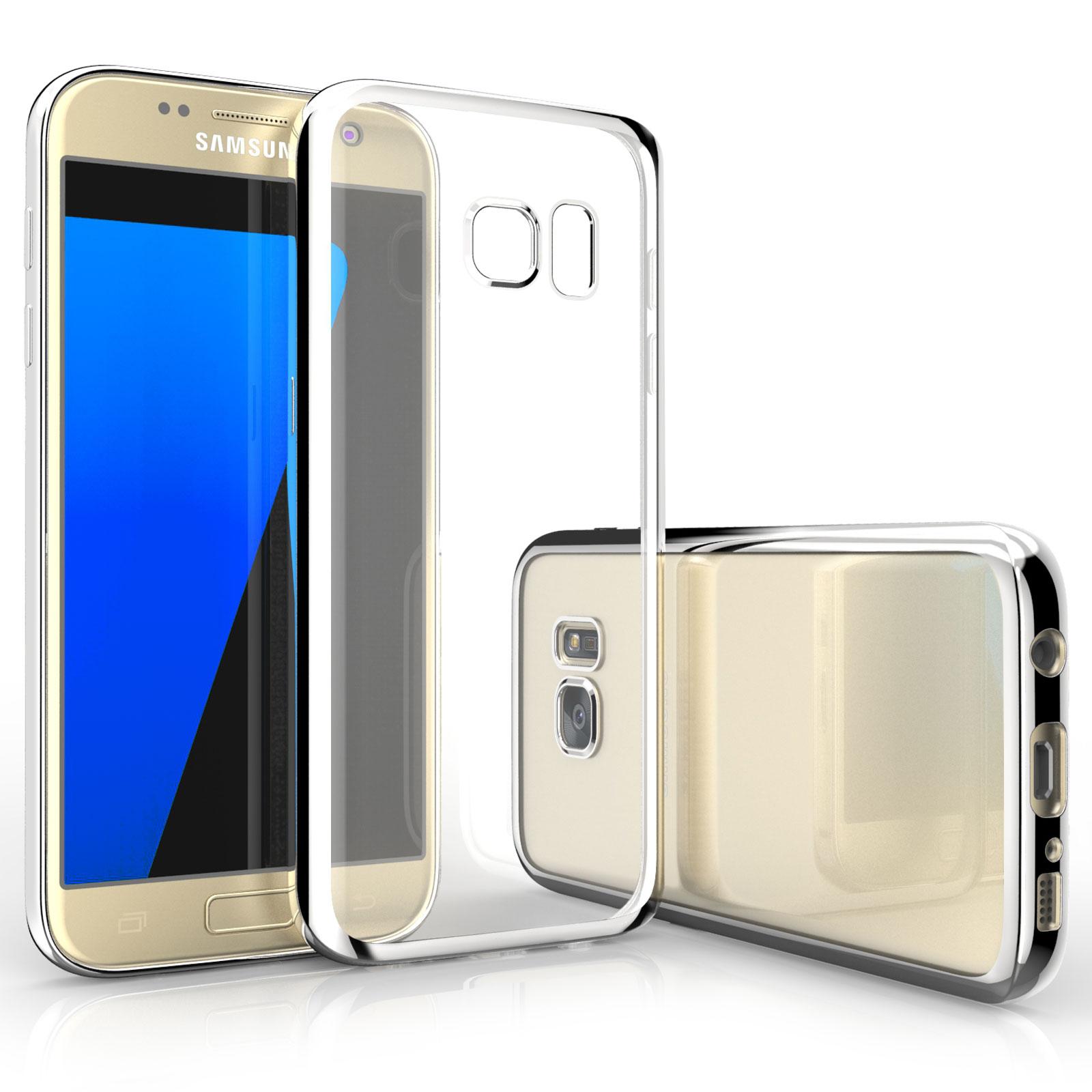 Caseflex Ultra-Thin Διάφανη Θήκη Σιλικόνης με Ασημένιο Bumper Samsung Galaxy S7 (Z296)