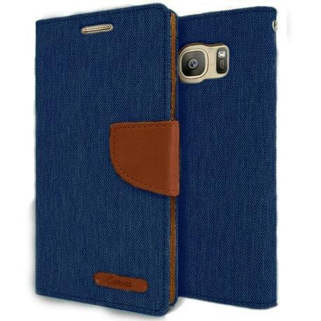 Θήκη Canvas Book Huawei Y5II - Μπλέ/Καφέ (8998) - OEM