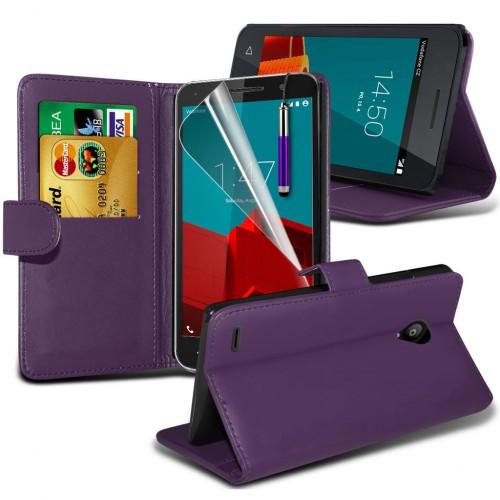 Θήκη Vodafone Smart Prime 7 - Πορτοφόλι - Μωβ (9673) - OEM θήκες κινητών
