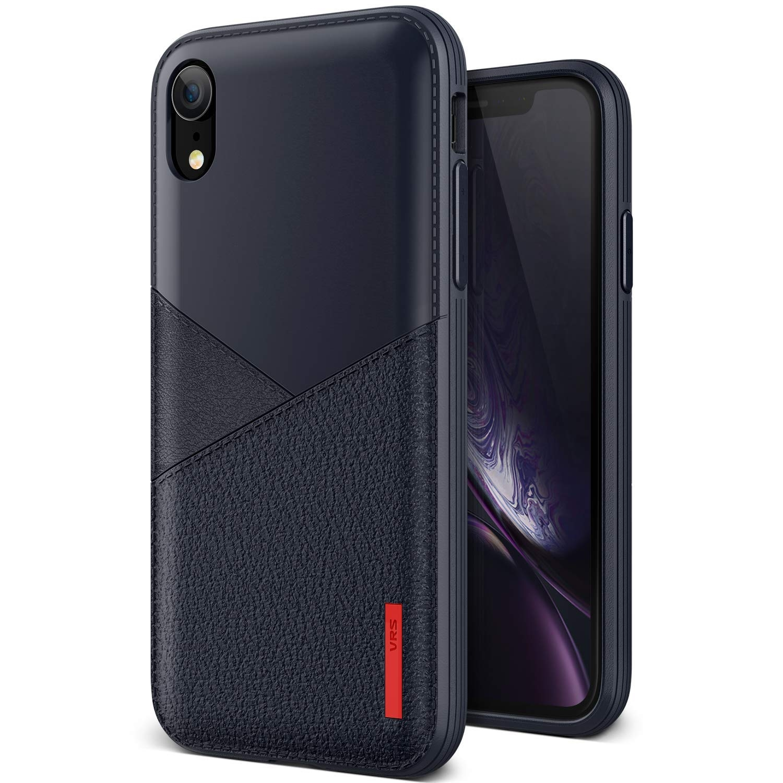 VRS Design Θήκη Leather Fit Label iPhone XR - Navy (8809582395397)
