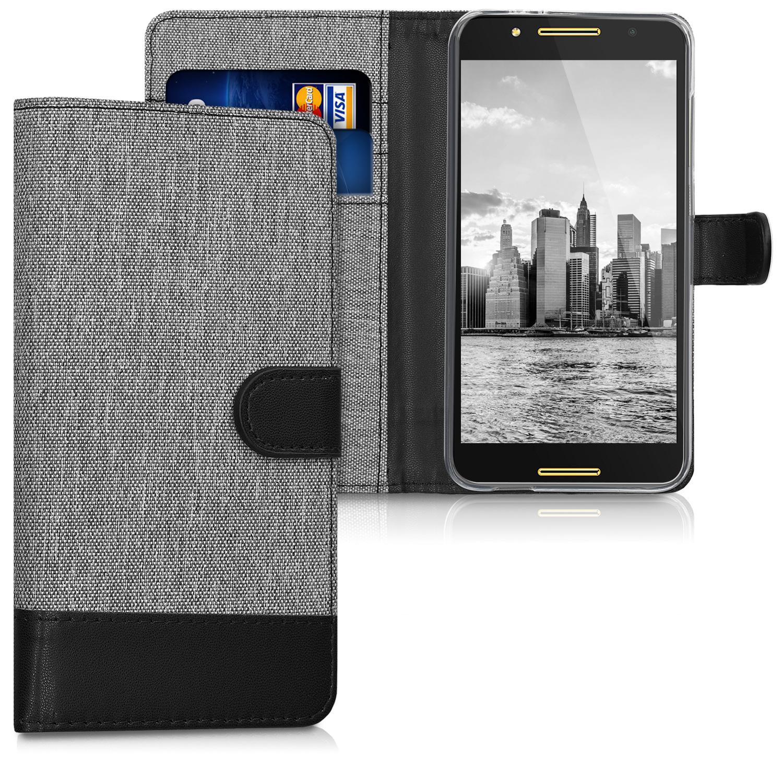 KW Θήκη Πορτοφόλι Alcatel A7 - Grey / Black Canvas (43267.22)
