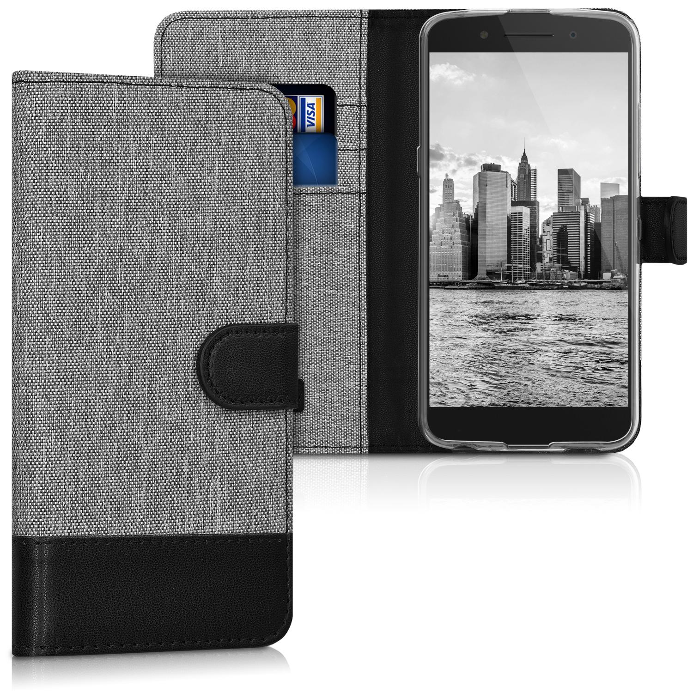 KW Θήκη Πορτοφόλι Alcatel Idol 5 - Grey / Black Canvas (43169.22) θήκες κινητών
