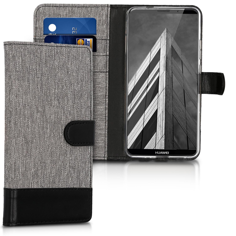 KW Θήκη Πορτοφόλι Huawei Mate 10 Pro - Grey / Black Canvas (43128.01)