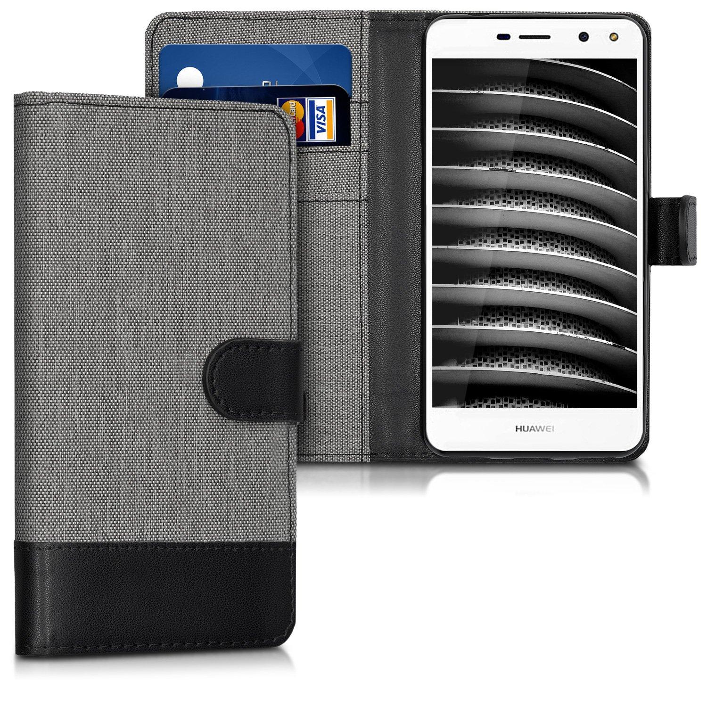 KW Θήκη Πορτοφόλι Huawei Y5 2017 - Grey / Black Canvas (41727.01)