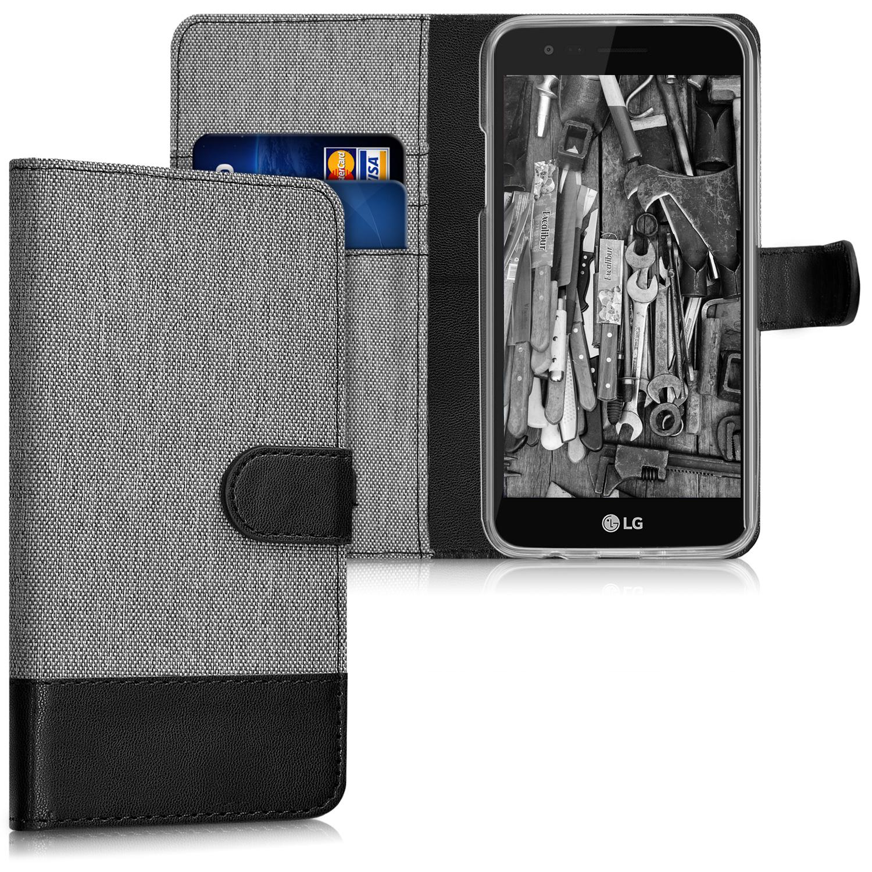 KW Θήκη Πορτοφόλι LG K4 2017 - Grey / Black Canvas (40772.22)