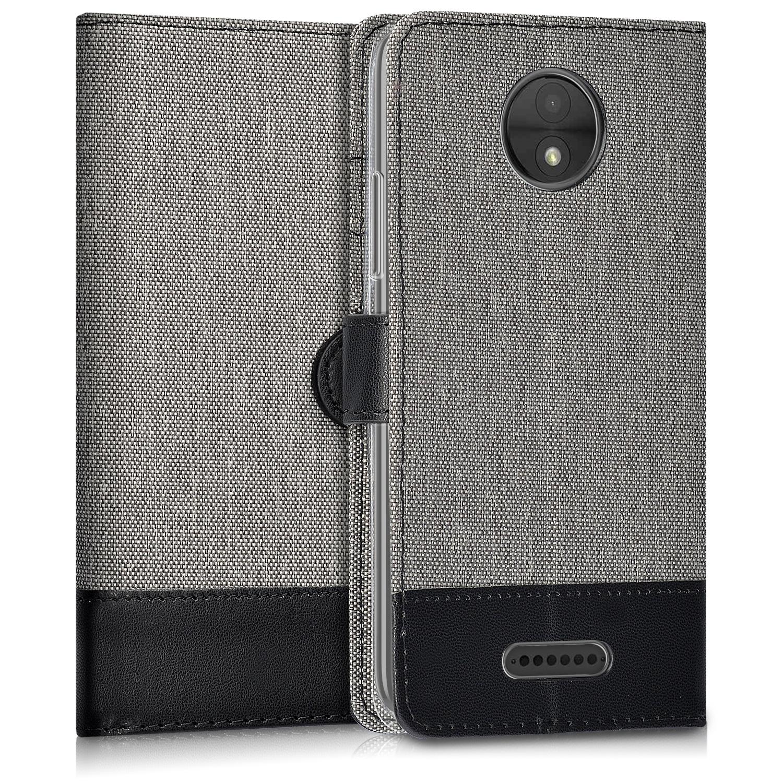 KW Θήκη - Πορτοφόλι Motorola Moto C - Grey / Black (44385.01)
