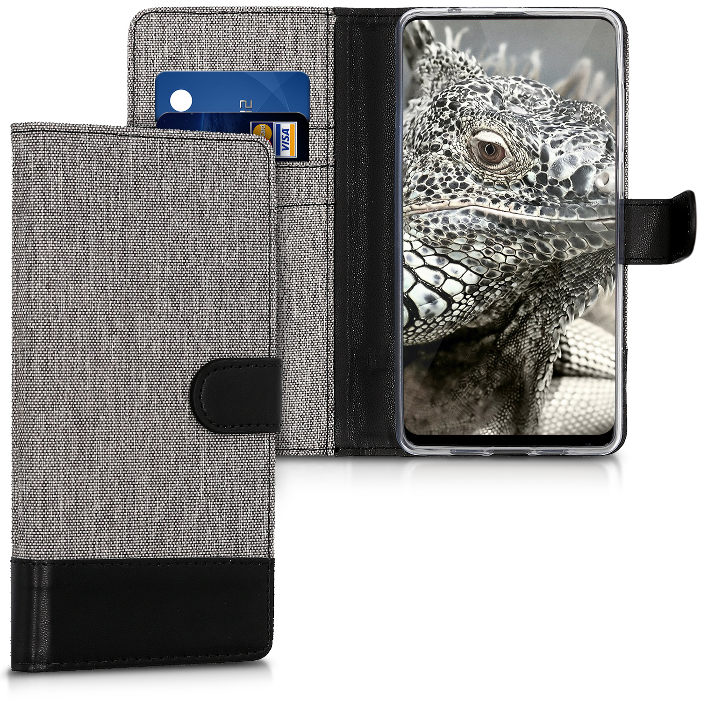 KW Θήκη Πορτοφόλι Xiaomi Mi Mix 2 - Grey / Black Canvas (43505.22)