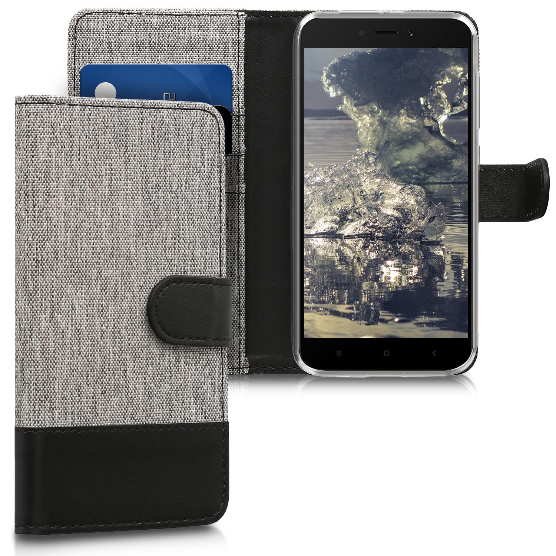 KW Θήκη Πορτοφόλι Xiaomi Redmi 5A - Grey / Black Canvas (43842.22)